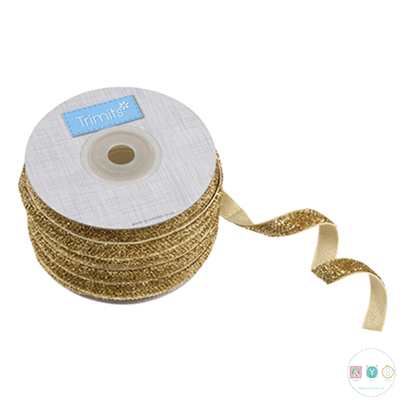 Gold Glitter Ribbon - 10mm - Sparkle Trim - Haberdashery