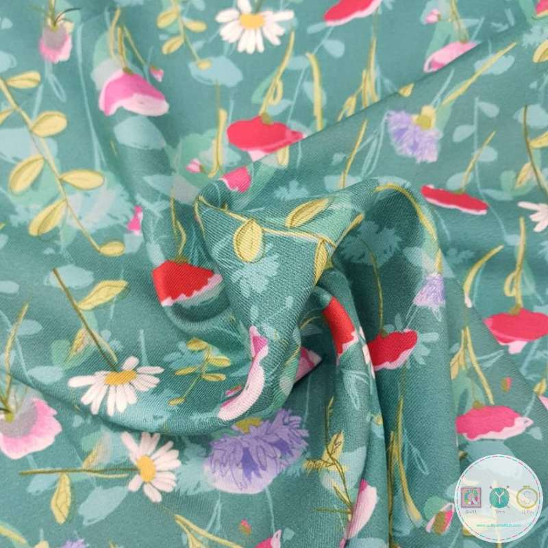 Floral On Green - Viella - Viscose Material - by Indigo Fabrics - Dressmaking Textiles