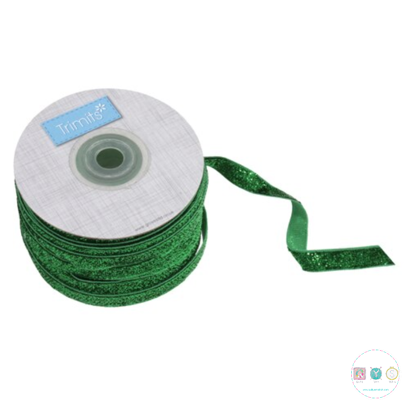 Green Glitter Ribbon - 10mm - Sparkle Trim - Haberdashery