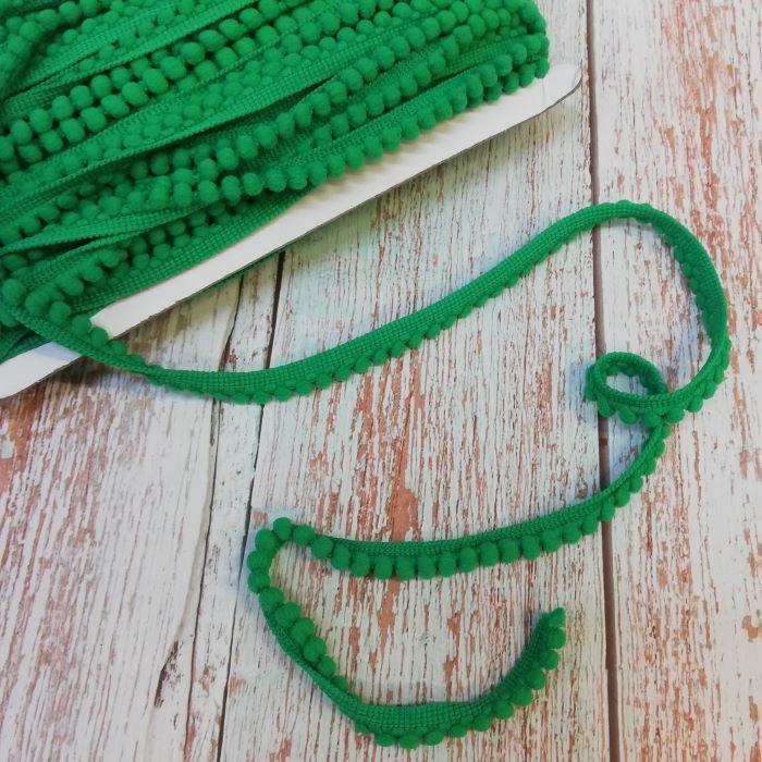 10mm Kelly Green Mini Pom Pom Trim