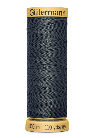 Gutermann Dark Grey Thread G4403- 100% Cotton - 50wt - Sewing Thread - All Purpose - Domestic