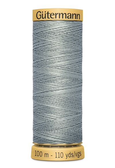 Gutermann Grey Thread G6206 - 100% Cotton - 50wt - Sewing Thread - All Purpose - Domestic