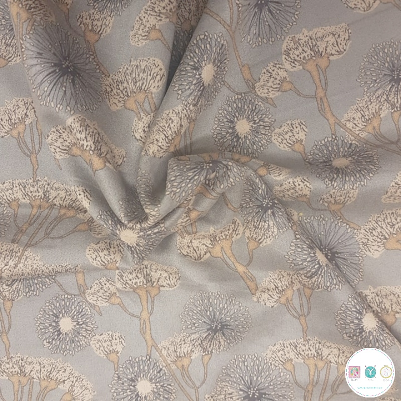 Silver Grey Flowers - Scuba Suede Puff - Polyester Stretch Dress Fabric - Dressmaking