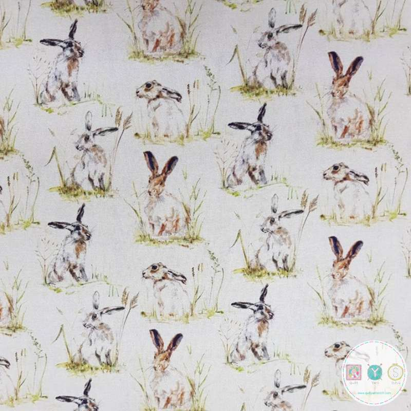 Hares - Rabbits - Bunnies  - Cotton Percale Fabric - 150cm - by Indigo Fabrics - Patchwork Quilting & Craft Textiles