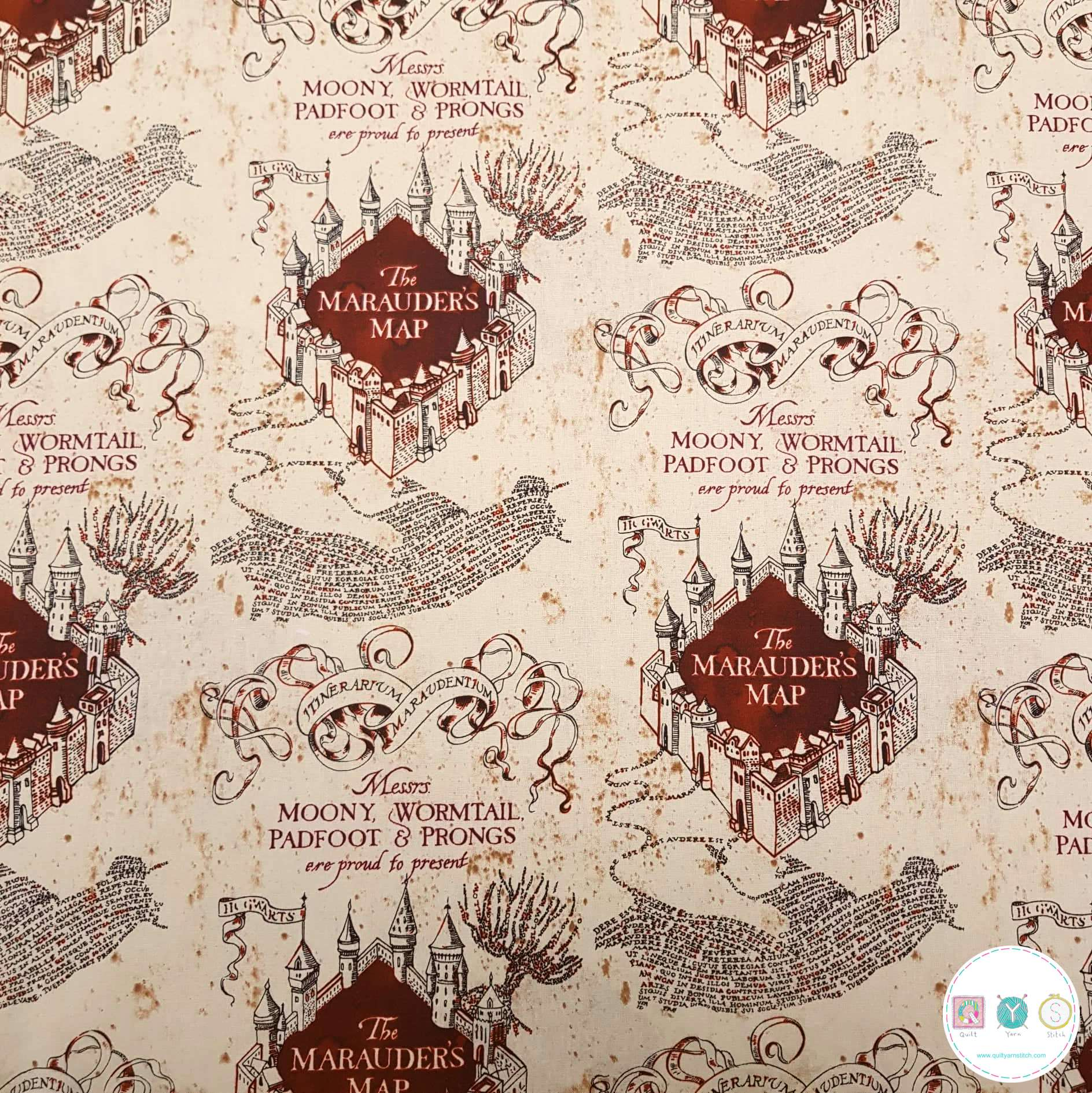 HARRY POTTER FABRIC  MARAUDER/'S MAP CAMELOT FABRICS QUILTING COTTON  BY THE YARD