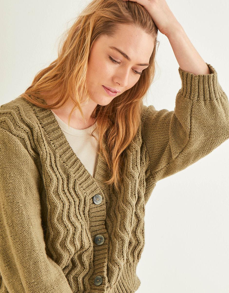 Knitting Pattern - DK Wavy Front Cardigan in Hayfield Bonus