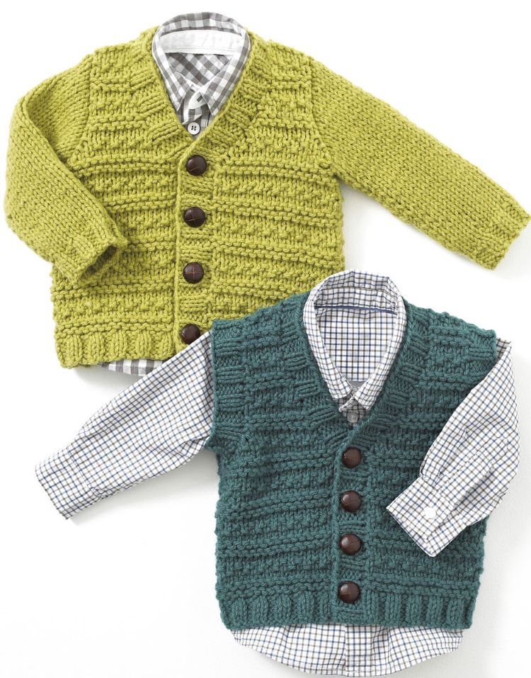 Knitting Pattern by Hayfield - Textured Cardigan and Waistcoat in Baby Chunky