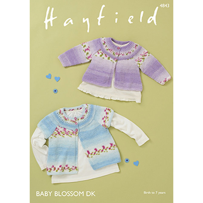 Hayfield 4843 - Cardigan in Hayfield Baby Blossom DK - Baby Knitting Pattern