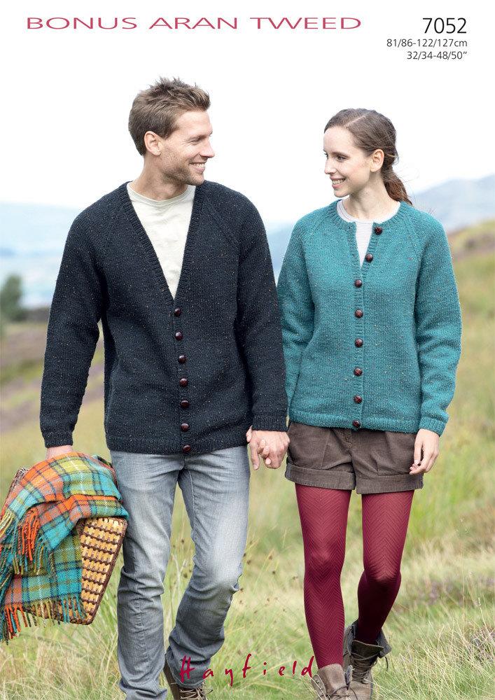 Ladies and Gents Cardigans in Hayfield Bonus Aran Tweed with Wool - 7052