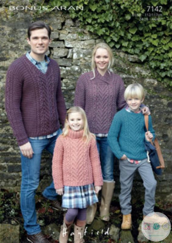 Aran Sweater - Knitting Pattern - Hayfield 7142