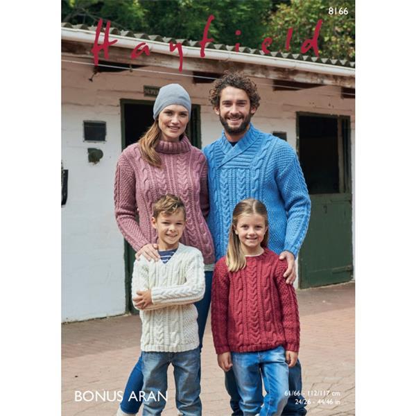 Knitting Pattern -  Hayfield 8166 Aran Sweaters Family Knit