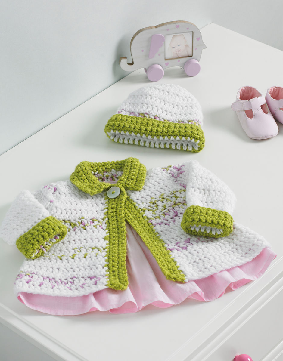 Crochet Pattern by Hayfield - Baby and Child Jacket and Hat in Baby Blossom Chunky