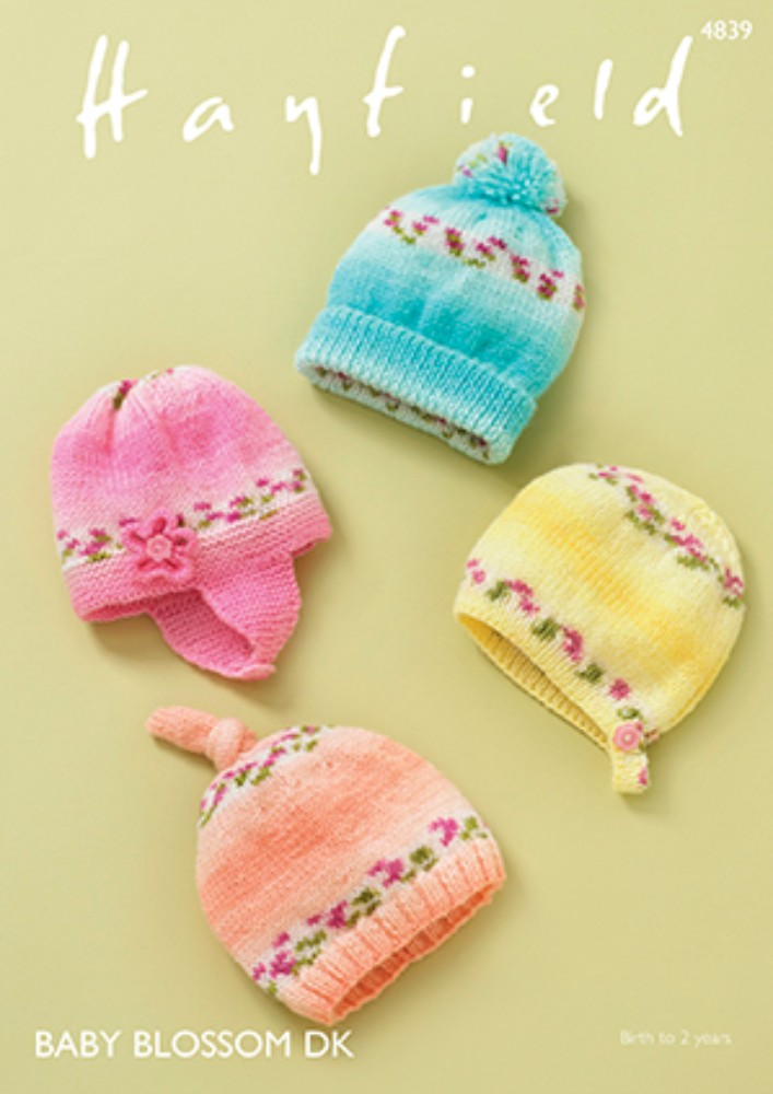 Hayfield 4839 -  Baby Blossom DK - Baby Hats Knitting Pattern