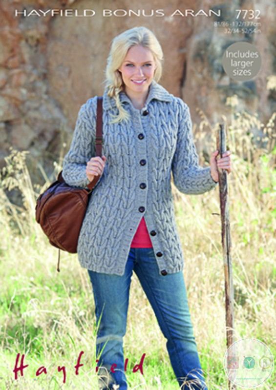 Hayfield Bonus 7732 - Ladies Aran Cardigan Knitting Pattern