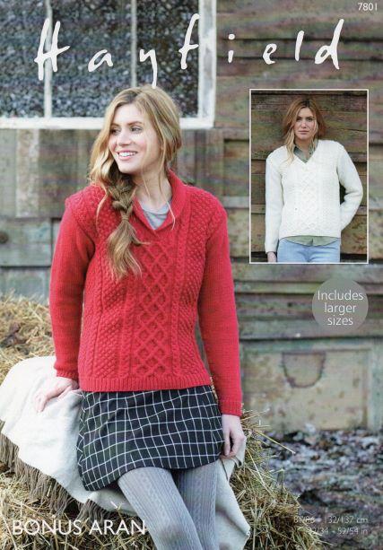 Hayfield 7801 - Ladies Aran Jumper Pattern - Bonus Aran - Knitting Pattern