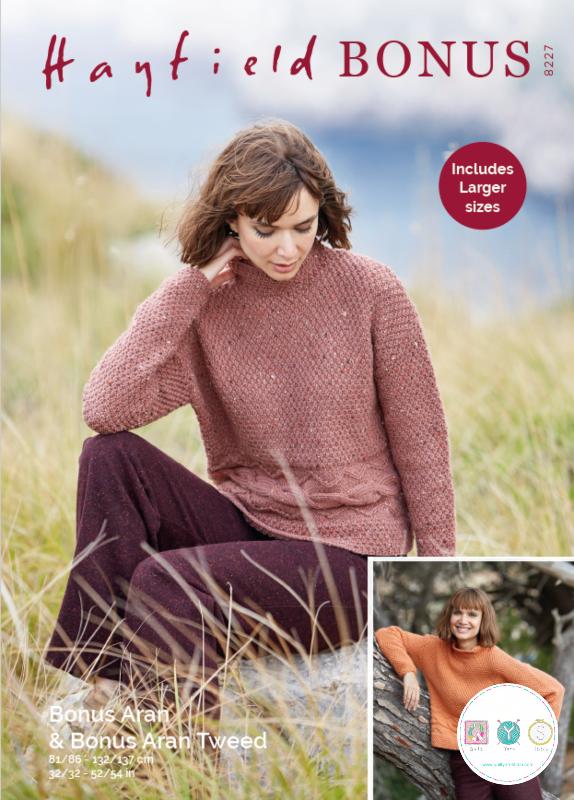 Hayfield 8227 - Ladies Sweater in Bonus Aran Tweed & Bonus Aran Knitting Pattern
