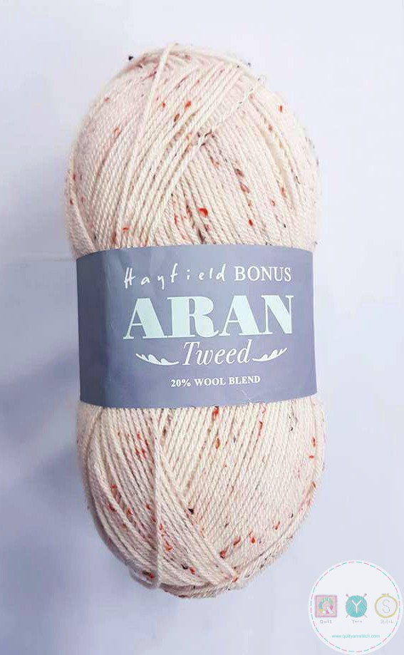 Hayfield Bonus Aran Tweed Wool - Dapple Tweed - Cream Speckly Yarn 714