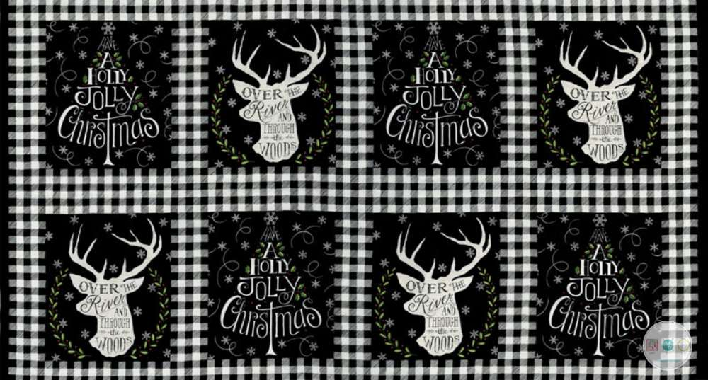 Hearthside Holiday - Traditional Stag Fabric Panel - Christmas - by Deb Strain for Moda Fabrics - Patchwork & Quilting