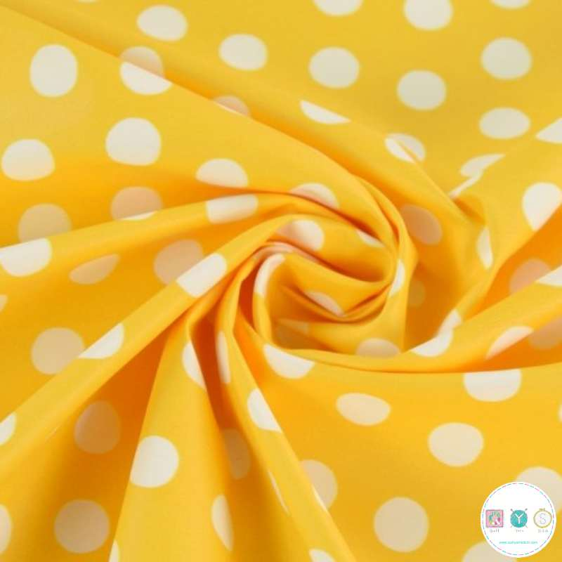 Yellow Dots - Raincoat Fabric - Water Resistant - Vinyl - Polyurethane & Polyester - Dressmaking Fabric