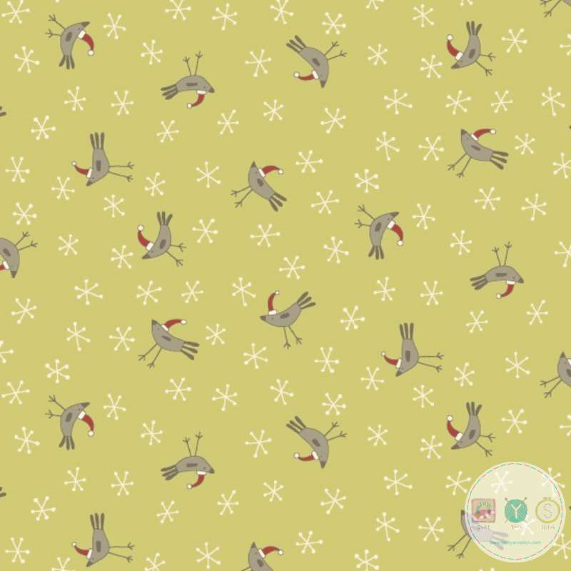 Festive Robins on Citrus Green Cotton Fabric - Home For Christmas - 2073-66 - By Anni Downs of Hatched & Patched - Henry Glass & Co. - Patchwork & Quilting