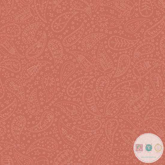Paisley on Rust - Orange Cotton - Home For Christmas - 2072-88 - By Anni Downs of Hatched & Patched - Henry Glass & Co. - Patchwork & Quilting Fabric