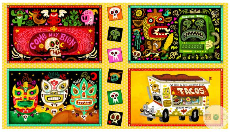 Hot Tamales - Mexican Theme - Cotton Fabric Panel - By Jorge Gutierrez for Quilting Treasures - Patchwork & Quilting