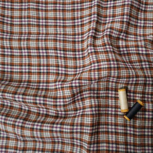Irish Linen Fabric from Emblem Weavers 1.45m Remnant Piece of Brown Black Plaid Mix IL005