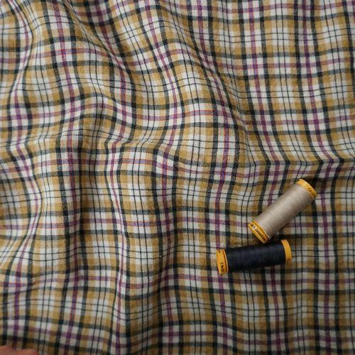 Irish Linen Fabric from Emblem Weavers 3.5m Remnant Piece of Mustard Black Plaid Mix IL008