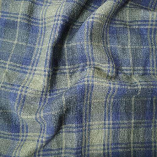 Irish Linen Fabric from Emblem Weavers 3.45m Remnant Piece of Green Navy Plaid