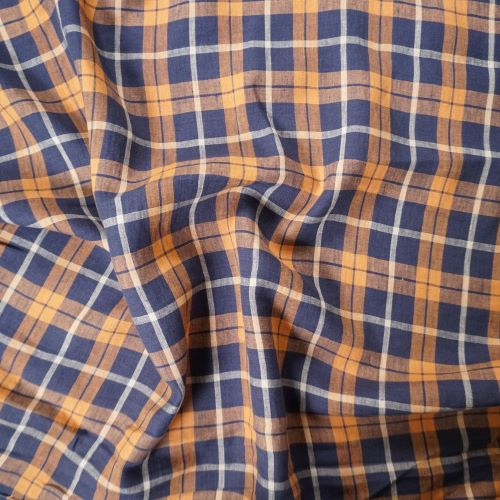 Irish Linen Fabric from Emblem Weavers - Orange and Navy Plaid