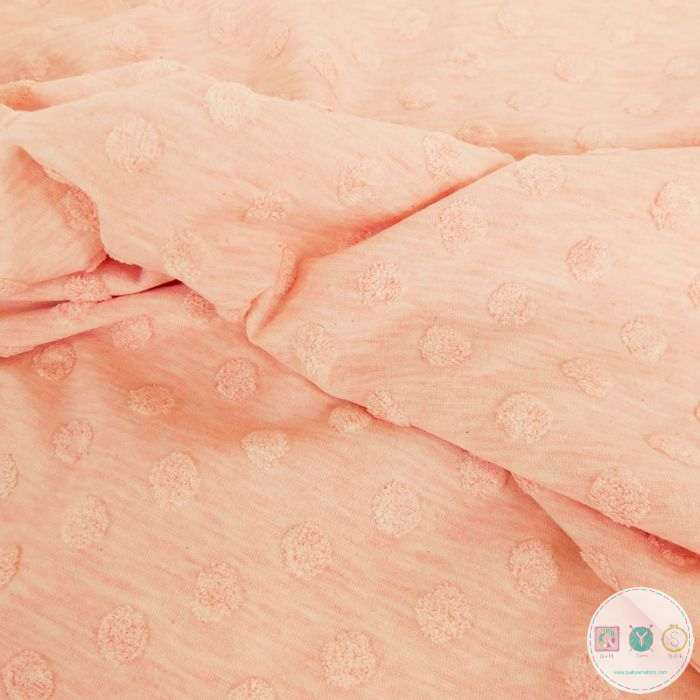 Pink Peach Textured Spot - Jacquard Terry Jersey - Cotton Mix Fabric - Stenzo Textiles - Dressmaking