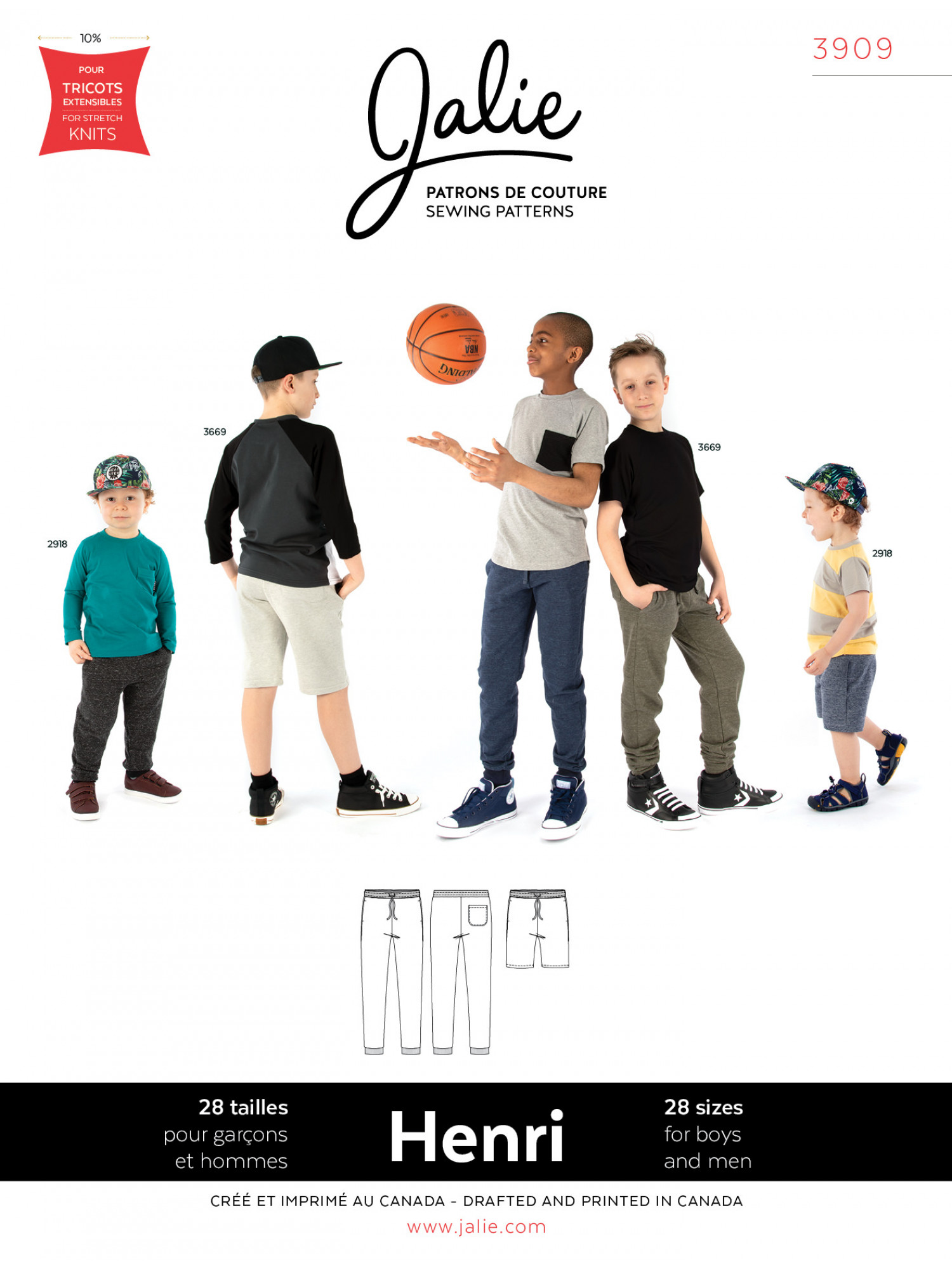 Jalie Patterns - Henri Joggers And Shorts Sewing Pattern - Child and Adult