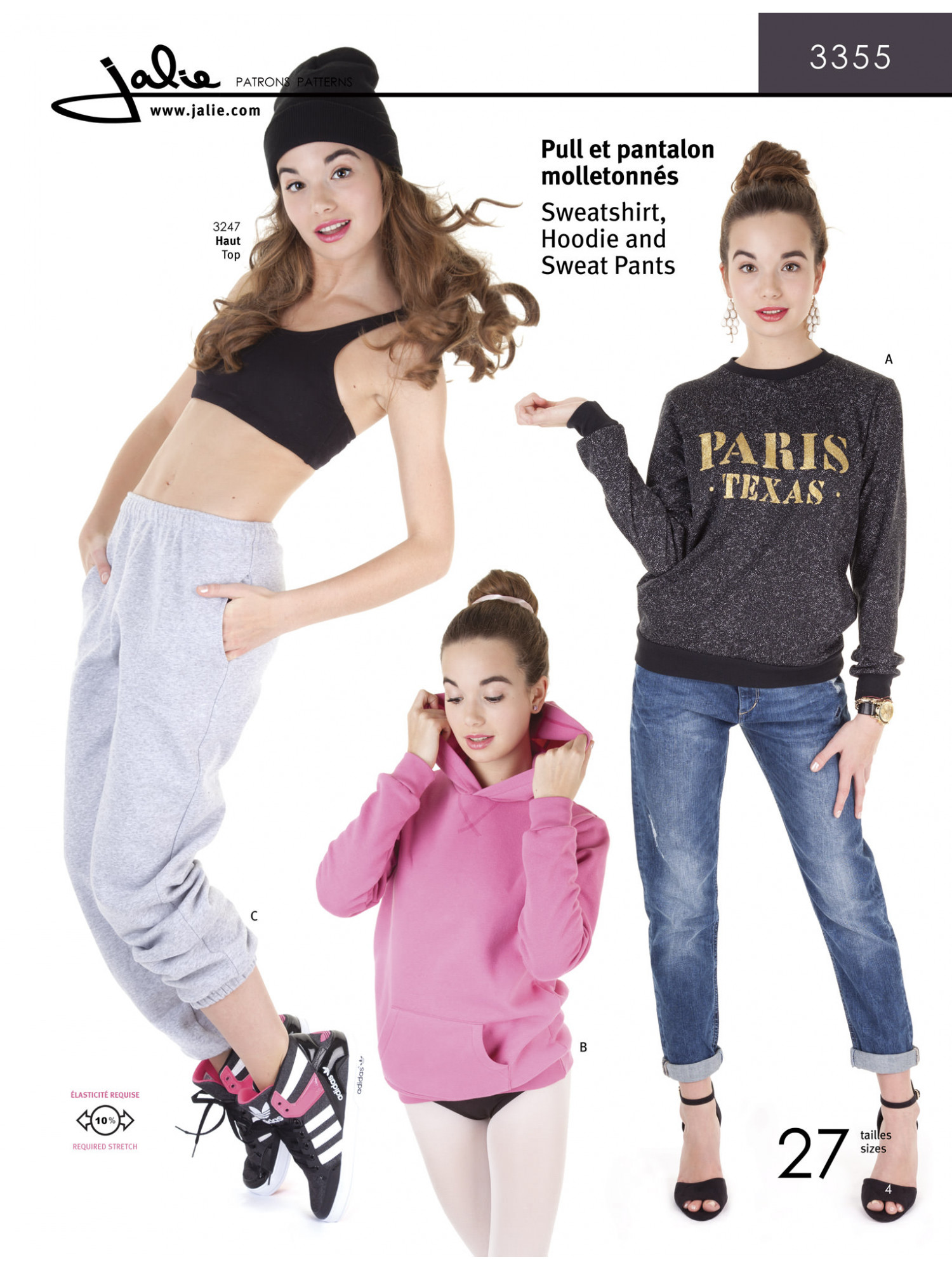 Jalie Patterns - Sweatpants, Sweatshirt and Hoodie Sewing Pattern - Children and Adults