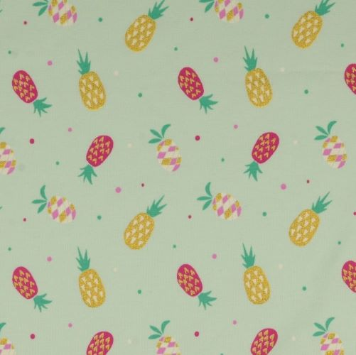 Jersey Fabric with Glittery Pineapples on Mint