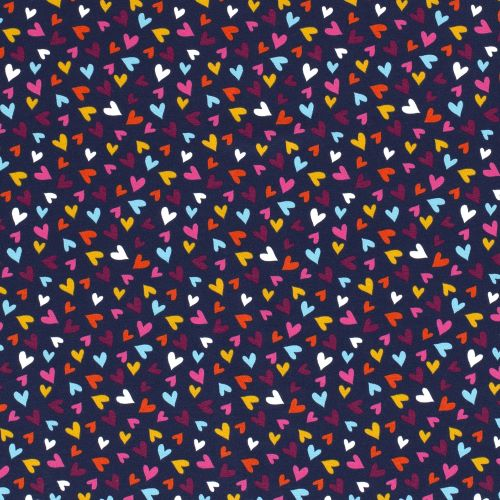 Jersey Tricot Fabric with Multicoloured Hearts on Navy