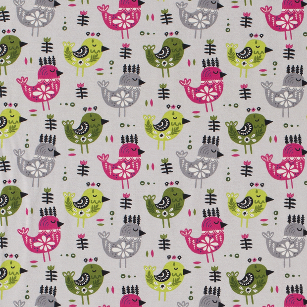 Jersey Tricot Fabric with Scandi Style Birds On Grey