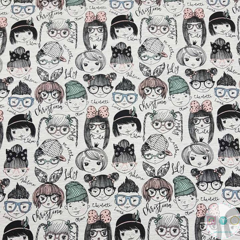 Little Girls and Boys Faces - Dressmaking Jersey - Stenzo Cotton Mix Knits - T-shirt Fabric 11405-22