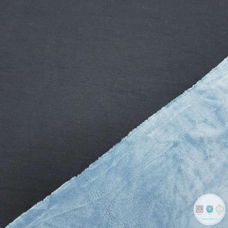 Navy Blue Fleece Lined Velour Sweatshirt - Supersoft Alpen Fleece - Dressmaking Fabric