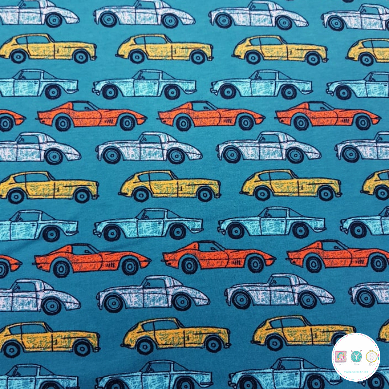 Vintage Cars On Teal Blue - Soft Sweat - 225gm/2 - Cotton Stretch Jersey - Dressmaking Fabric