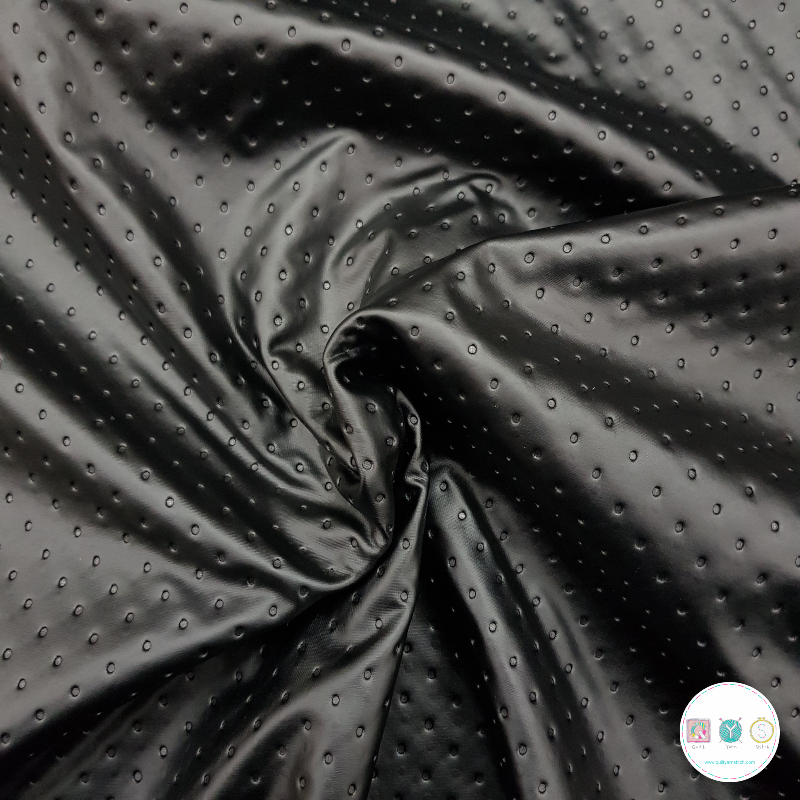 Dimpled Black Stretch - Leather Look PU - Dressmaking Fabric