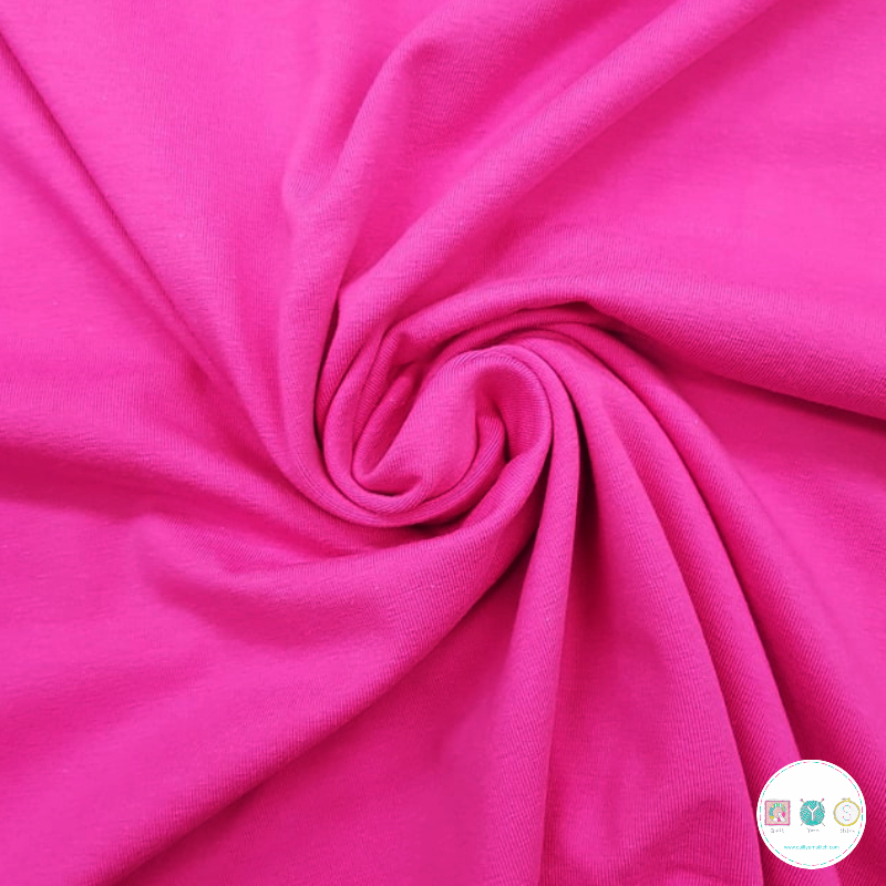 Fuchsia Pink - Cotton Jersey - 215gr/m2 - Solid Colour Stretch Jersey - Dressmaking Textiles