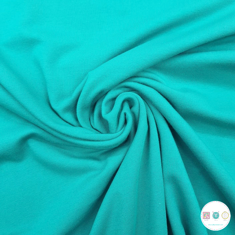 Teal Blue - Cotton Jersey - Solid Colour Stretch Jersey - Dressmaking Textiles