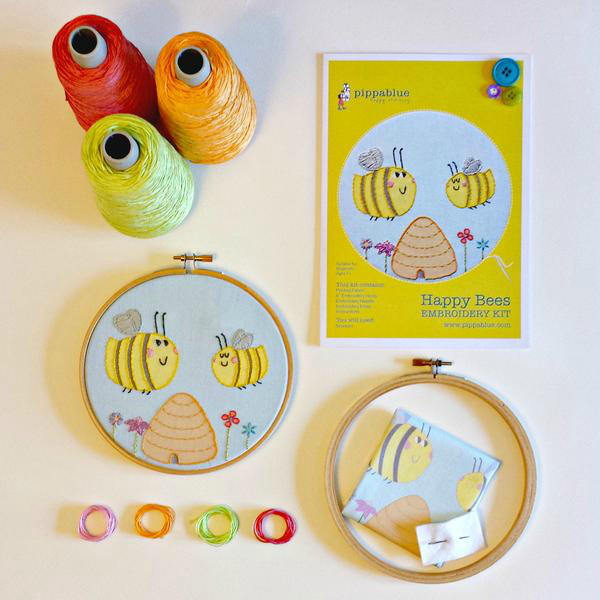 Happy Bees Embroidery Kit - Childrens Beginners - Pippablue - Irish Made Gifts