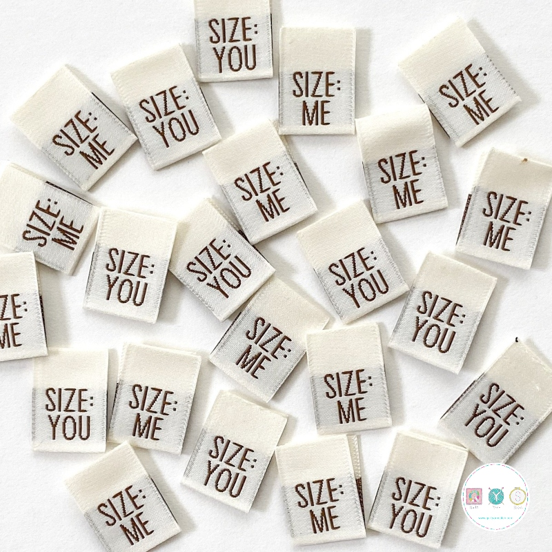 Size Me/size You - Double Sided - Woven Labels -by Kylie and the Machine - Dressmaking - Knit - Crochet