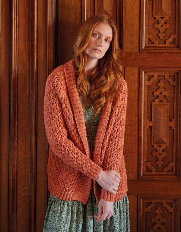 Knitting Pattern by Sirdar - Country Classic Worsted Shawl Collar Lattice Cardigan 10165