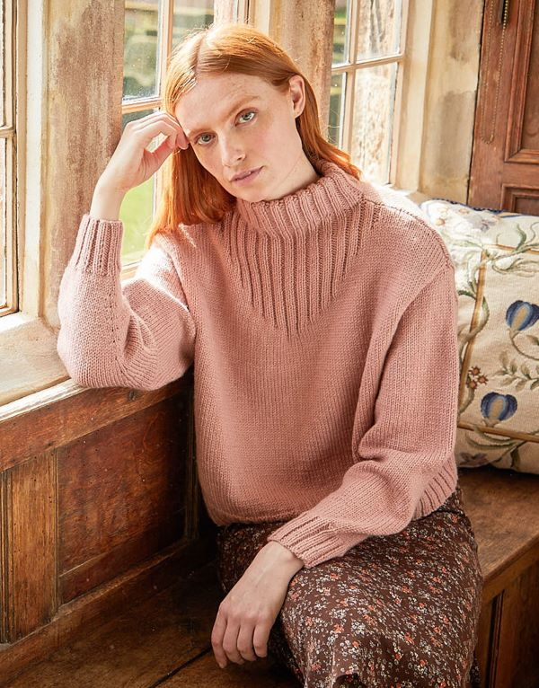 Knitting Pattern by Sirdar - Country Classic Worsted Funnel Neck Rib Detail Sweater 10169