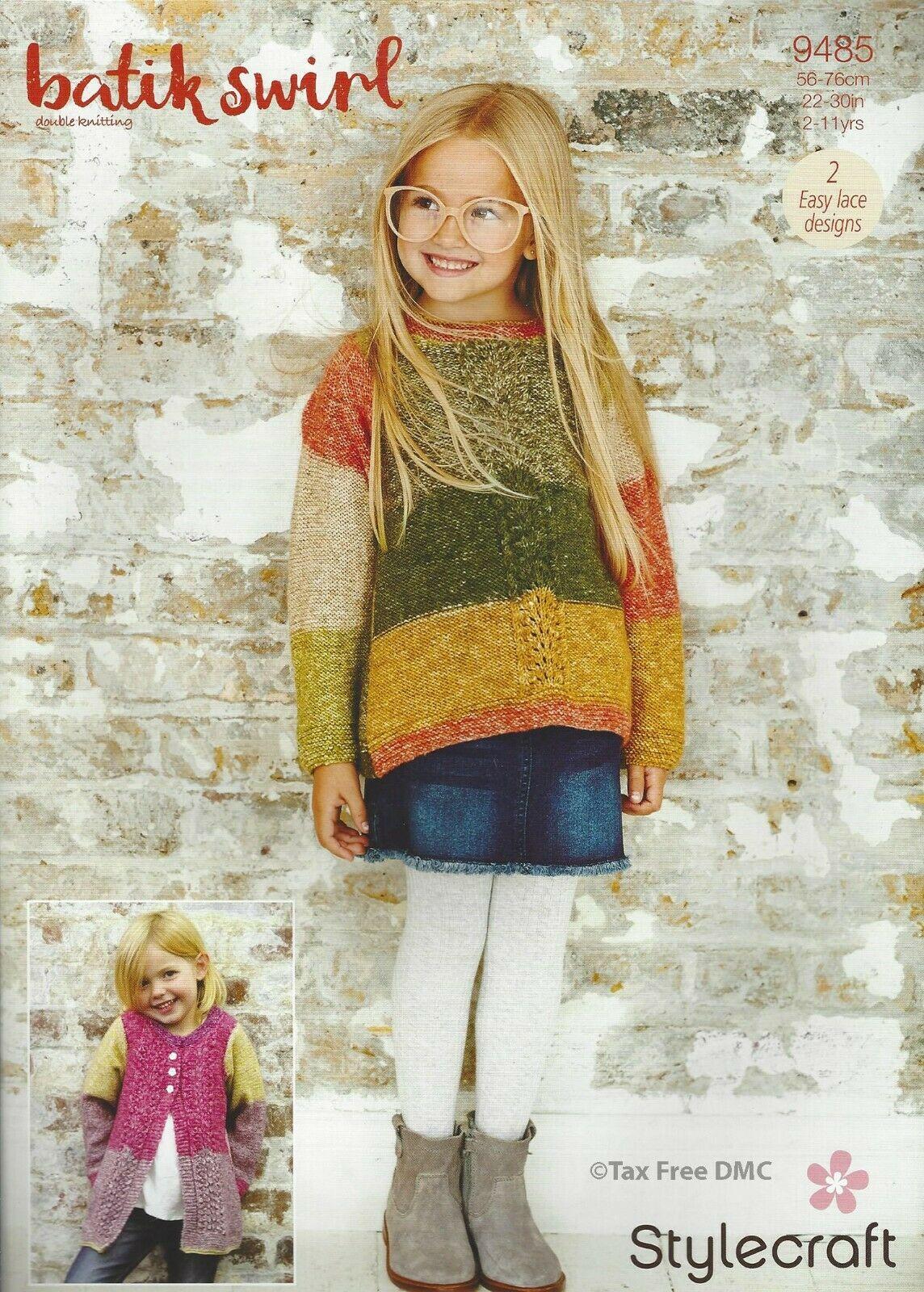 Knitting Pattern - Stylecraft 9485 Sweater and Cardigan in Batik Swirl DK