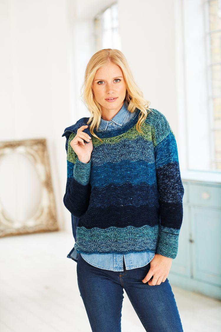 Knitting Pattern - Stylecraft 9483 Wavy Sweater, Cardigan and Cowl in Batik Swirl DK