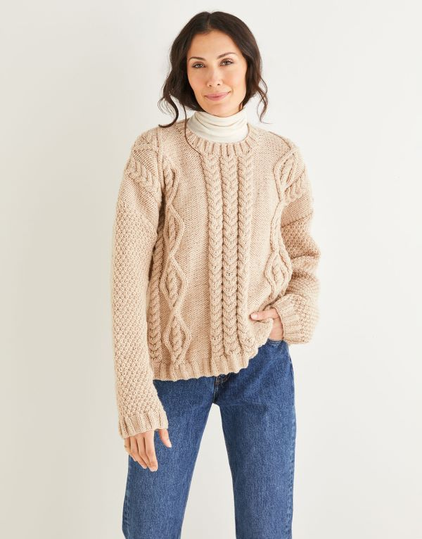 Knitting Pattern by Hayfield - Diamond and Arrowhead Textured Sweater