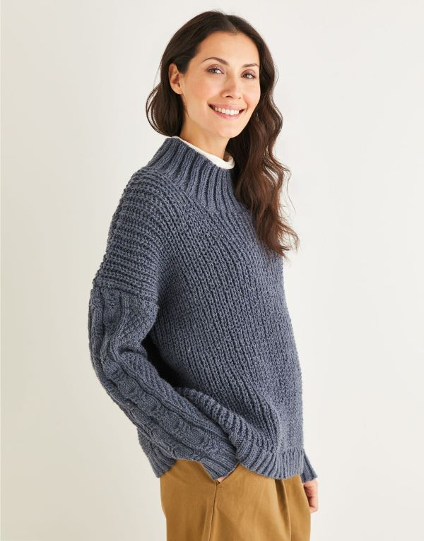Knitting Pattern by Hayfield - Fisherman's Rib And Cable Sweater